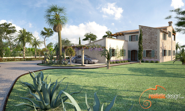 Perspectiva 3D de la fachada y entrada de la vivienda Casas de estilo rústico de Realistic-design Rústico