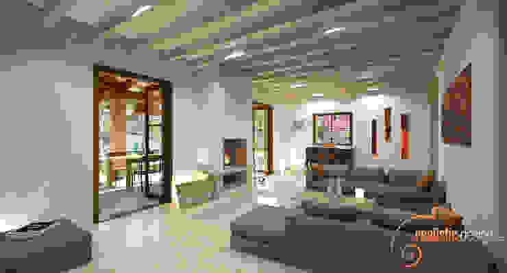 Perspectiva 3D del salón estilo rústico Salones rústicos de estilo rústico de Realistic-design Rústico