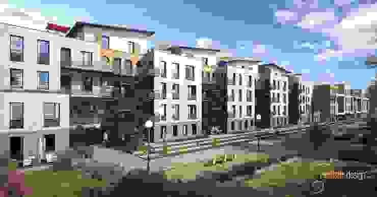 Perspectiva 3D de un edificio de viviendas para arquitectos de Realistic-design Clásico