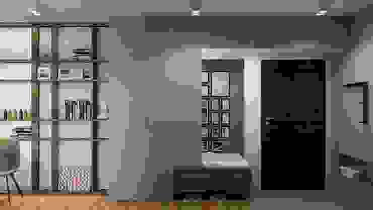 mieszkanie prywatne UrbanForm Minimalistyczny korytarz, przedpokój i schody Drewno Szary