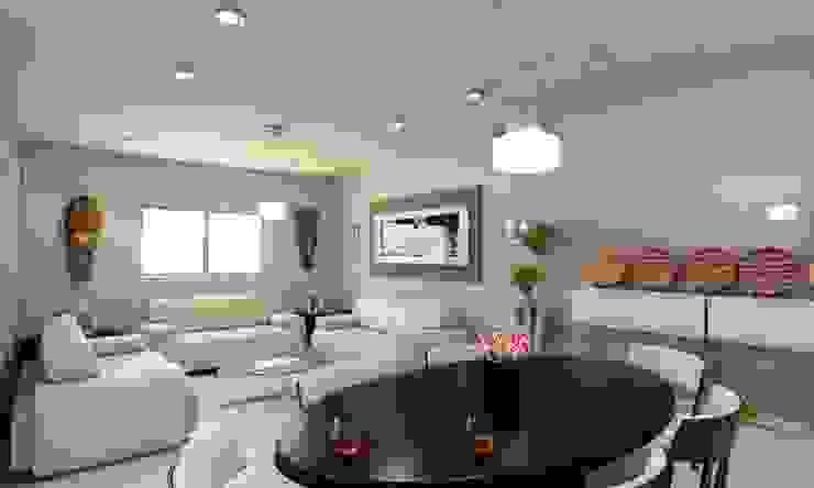 现代客厅設計點子、靈感 & 圖片 根據 OLLIN ARQUITECTURA 現代風 塑木複合材料