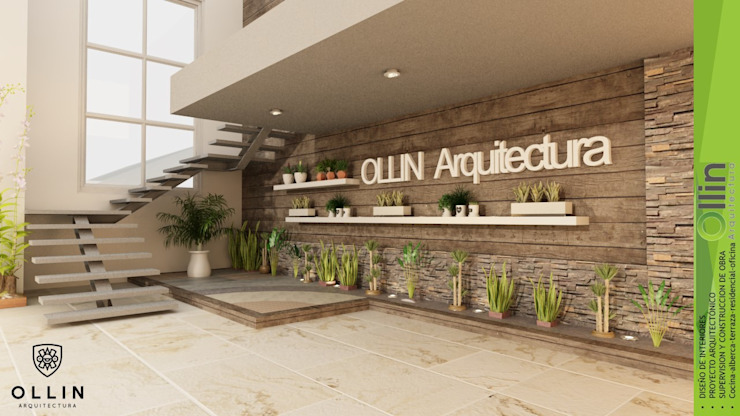 OLLIN ARQUITECTURA Office spaces & stores Wood-Plastic Composite Brown