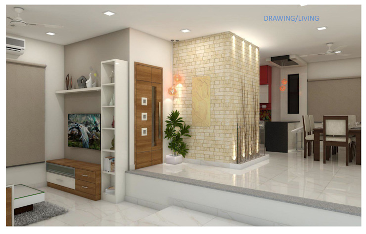 Project in Bachupally @ Praneeth Antilia to Peter Asian style living room by shree lalitha consultants Asian Ceramic