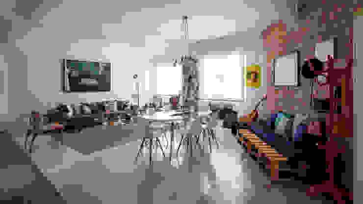 Sala de Estar integrada a Sala de Jantar estilo moderno e contemporâneo com parede de tijolinhos Salas de estar modernas por Decoradoria Moderno Tijolo