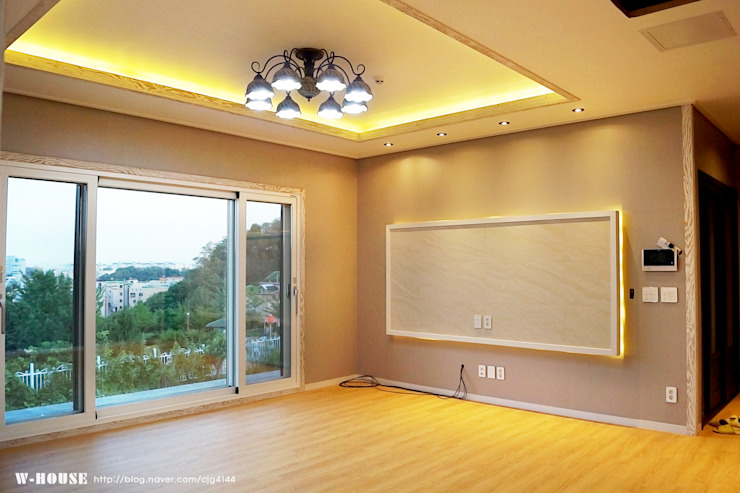 오창 50평형 ALC전원주택 스칸디나비아 거실 by W-HOUSE 북유럽 대리석