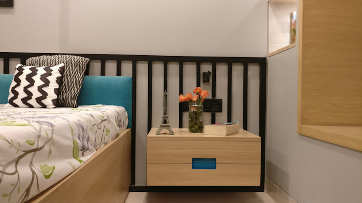 Mahim Residence got a blue touch Scandinavian style bedroom by Olive Roof Scandinavian