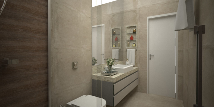 Banheiro rústico Arquiteta Bianca Monteiro Banheiros rústicos Cerâmica Efeito de madeira