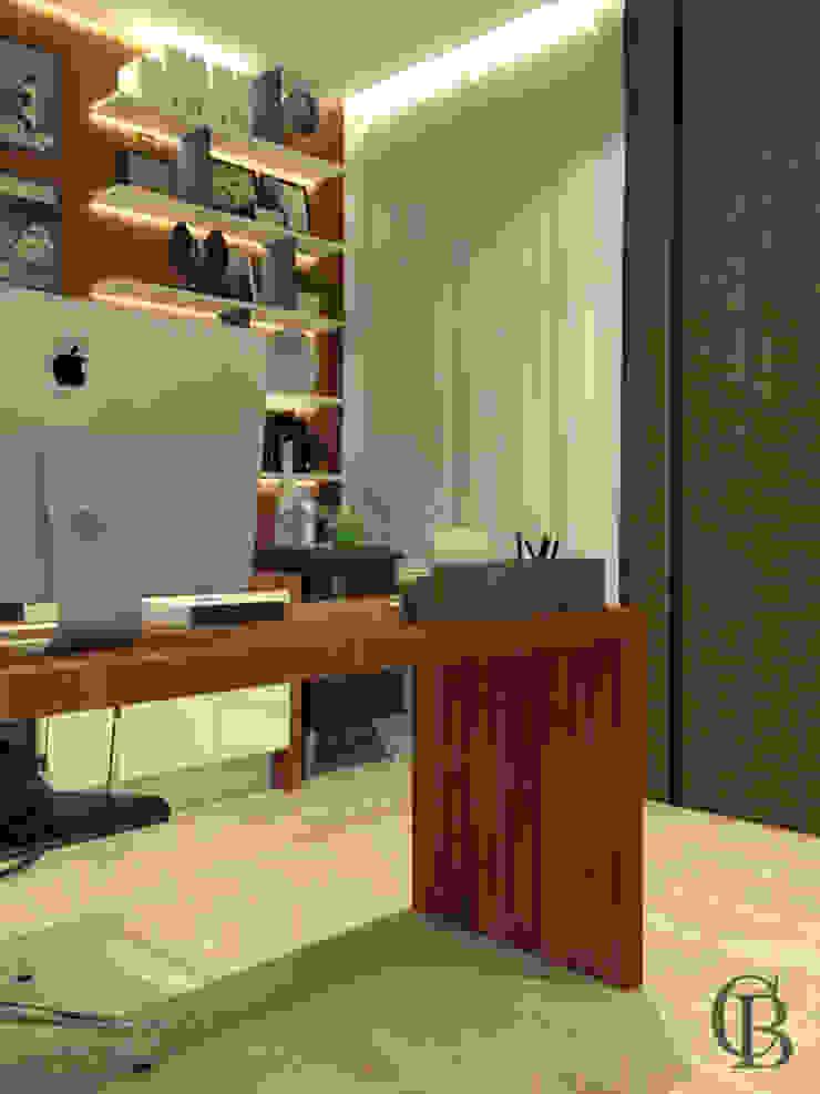 Estudios y oficinas modernos de Caroline Berto Arquitetura Moderno Tablero DM