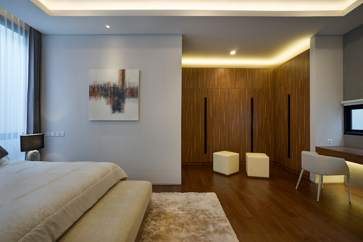 Chambre tropicale par Simple Projects Architecture Tropical Bois massif Multicolore