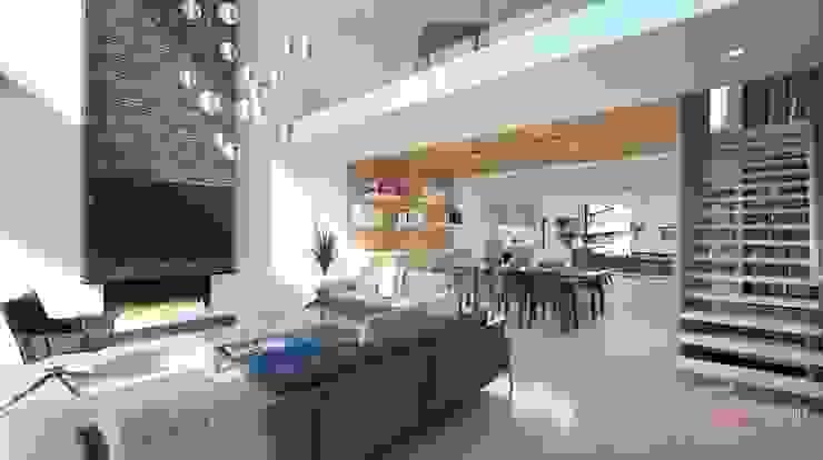 Perspectivas 3D - Comedores Salones de estilo moderno de Realistic-design Moderno