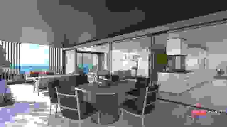 Perspectivas 3D – Comedores Balcones y terrazas de estilo moderno de Realistic-design Moderno