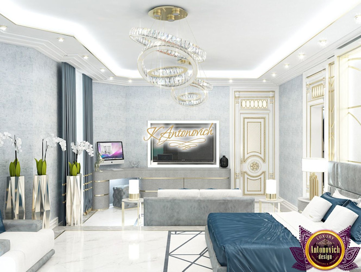 ​Modern interior design project in Dubai from Katrina Antonovich Modern style bedroom by Luxury Antonovich Design Modern