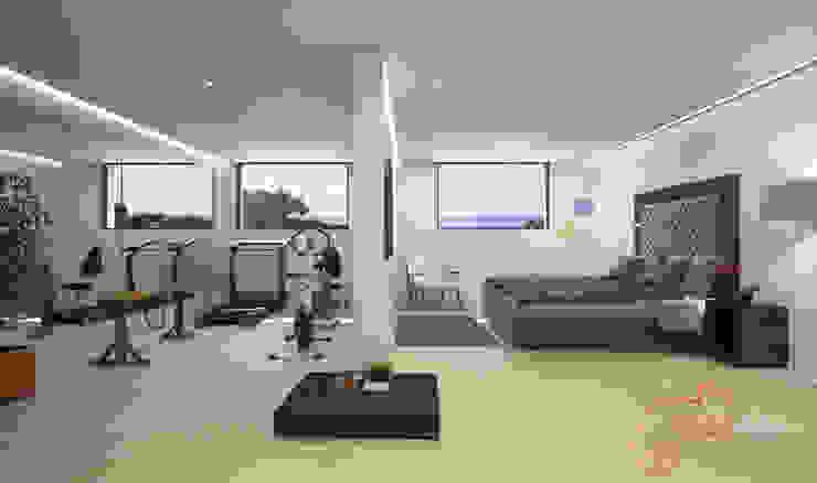 Proyecto 3D Gimnasios domésticos de estilo moderno de Realistic-design Moderno