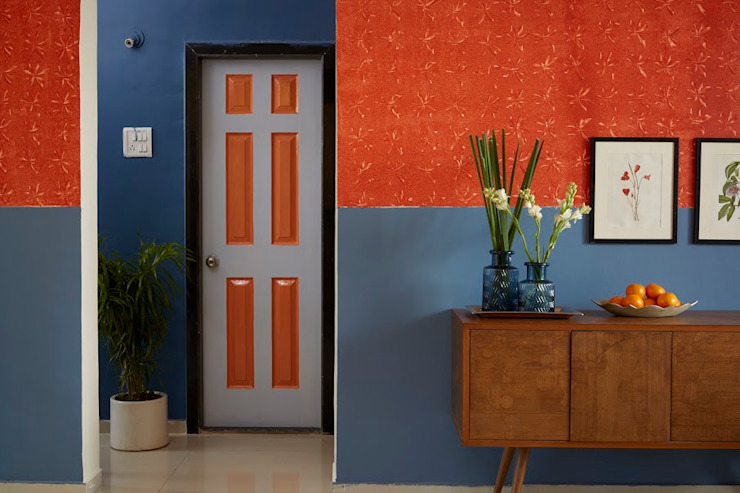 Colour inspired spaces Rustic style corridor, hallway & stairs by Papersky Studio Rustic