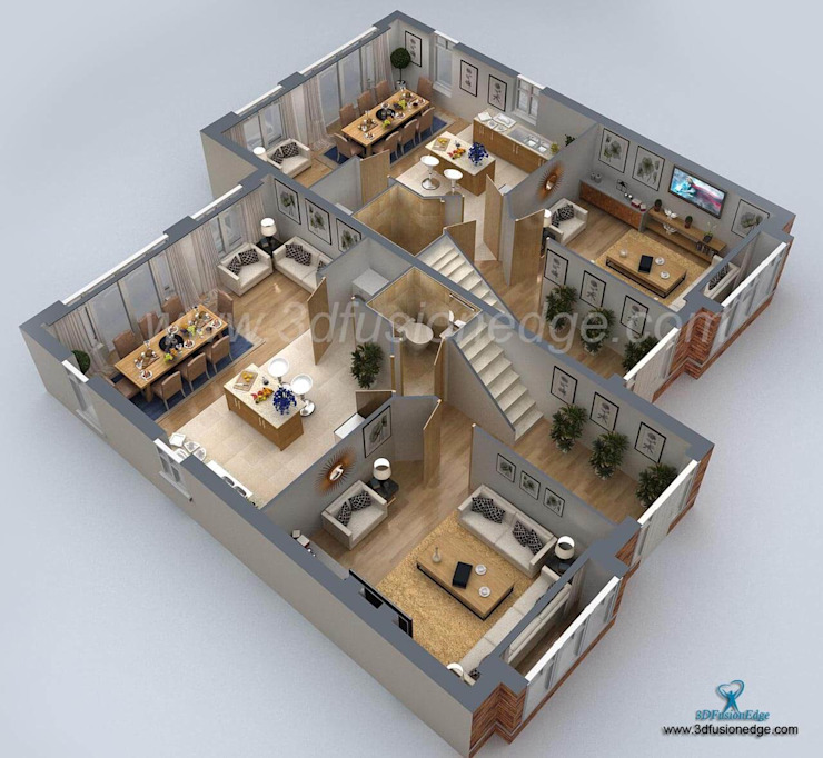 3d floor plan by 3DFUSIONEDGE Modern