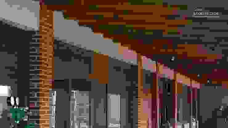 Circulación Interior de Zona Administrativa Casas rústicas de CANO ARQUITECTOS Rústico Derivados de madera Transparente