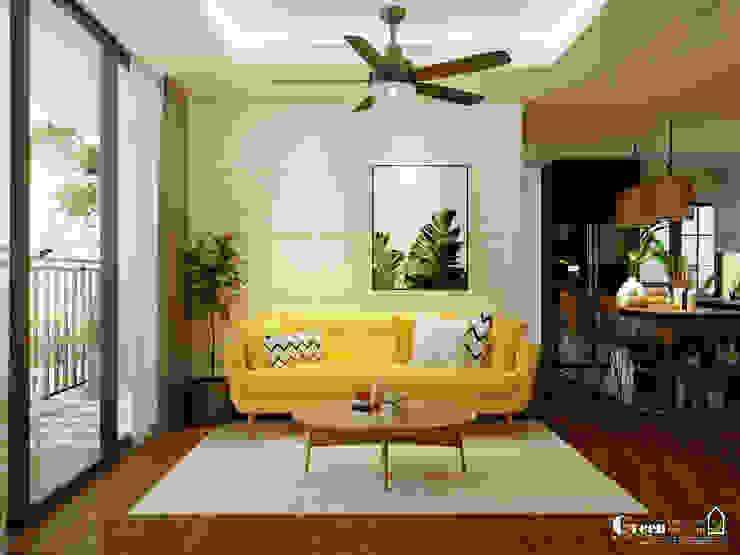 "SEASON AVENUE, ĐẠI LỘ 4 MÙA - ""MÙA HẠ MIỀN NHIỆT ĐỚI"" Salones tropicales de Green Interior Tropical Derivados de madera Transparente"