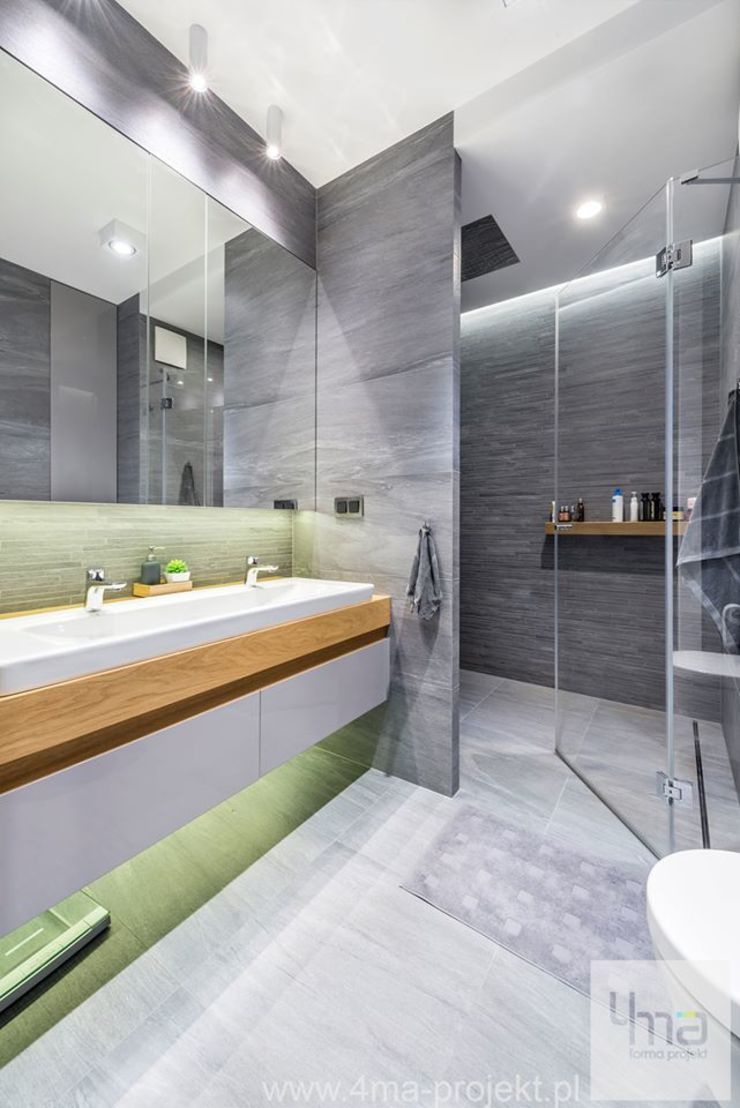 Projekt mieszkania o pow. 165 m2. Nowoczesna łazienka od 4ma projekt Nowoczesny