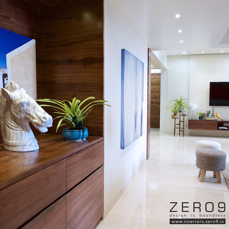 Entrance Foyer Modern corridor, hallway & stairs by ZERO9 Modern Solid Wood Multicolored