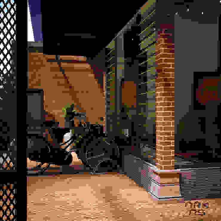 Eksterior Rumah Tinggal Industrial Style, Nonongan, Surakarta Balkon, Beranda & Teras Gaya Industrial Oleh ARKAStudio Industrial Batu Bata