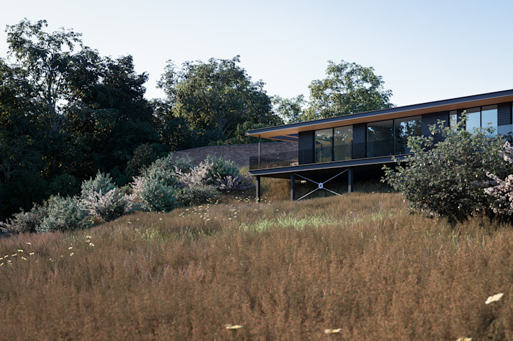 Floating house sitting within the landscape Brown + Brown Architects Single family home Wood