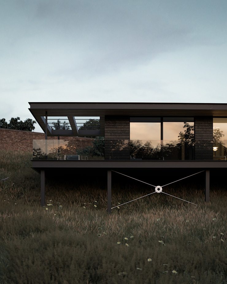 Floating house sitting within the landscape Brown + Brown Architects Single family home