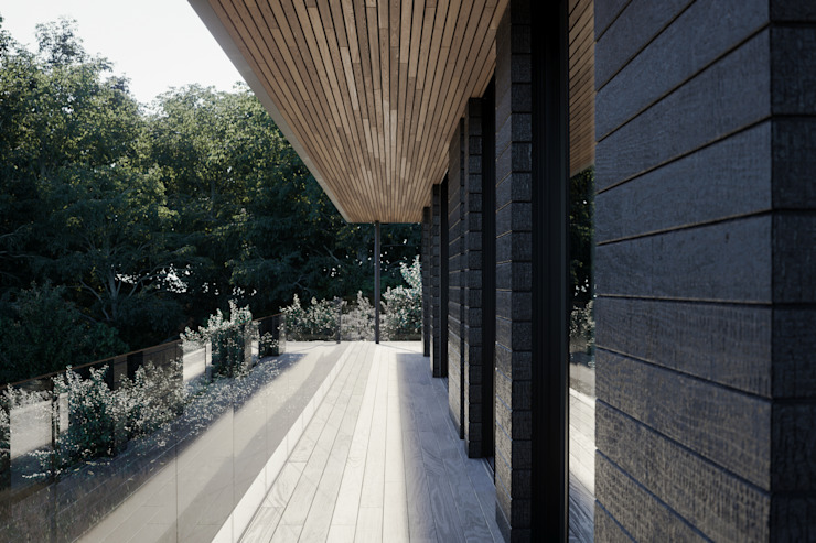Covered terrace walkway deck Brown + Brown Architects Single family home