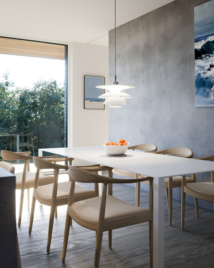 Dining space with concrete hearth wall Brown + Brown Architects Modern dining room