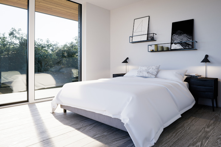 Master bedroom with glazed doors to covered deck Brown + Brown Architects Modern style bedroom