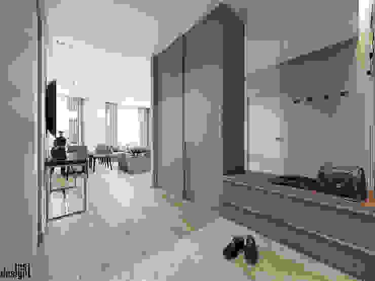 Couloir, entrée, escaliers minimalistes par Y.F.architects Minimaliste