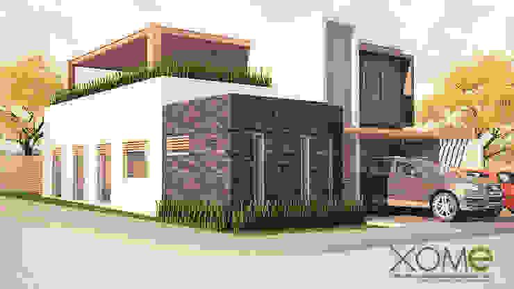 FACHADA PRINCIPAL (RENDER) Casas modernas de Xome Arquitectos Moderno Piedra