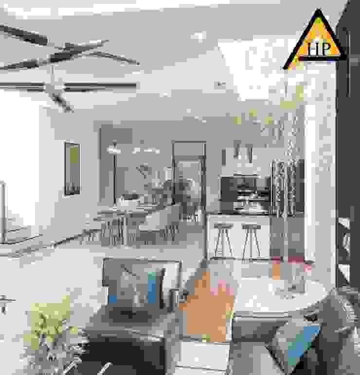 CTY KIẾN TRÚC VÀ NỘI THẤT HP-HOUSE モダンデザインの リビング