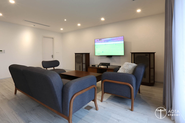 Cải tạo căn hộ tầng 7 Chung cư Ngọc Khánh Phòng giải trí phong cách Bắc Âu bởi AOTA atelier Bắc Âu