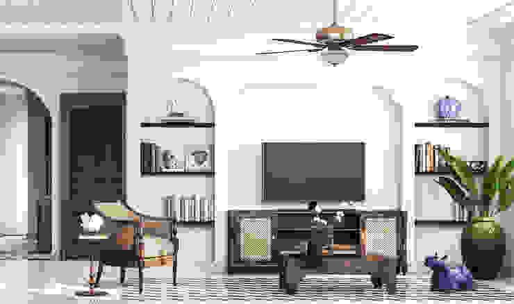 Colonial style - Tropic garden apartment Phòng khách phong cách thực dân bởi V Design Studio Thực dân