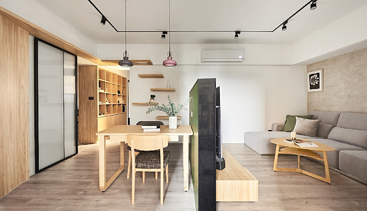 客餐廳隔間 Scandinavian walls & floors by 禾光室內裝修設計 ─ Her Guang Design Scandinavian