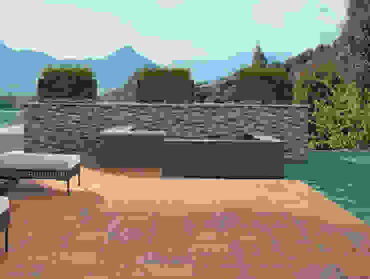 Alaplana Coralia 33x33 Verde y Madera Balcones y terrazas de estilo rústico Cerámico Marrón