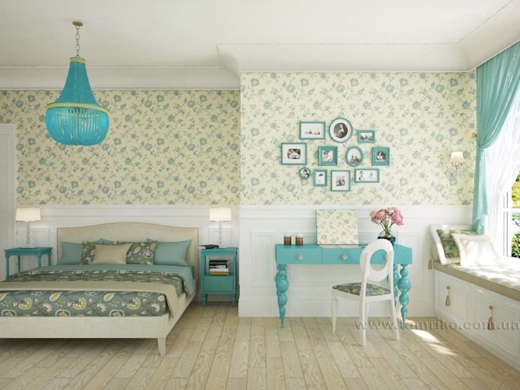 French country interior design Country style bedroom by Tamriko Interior Design Studio Country