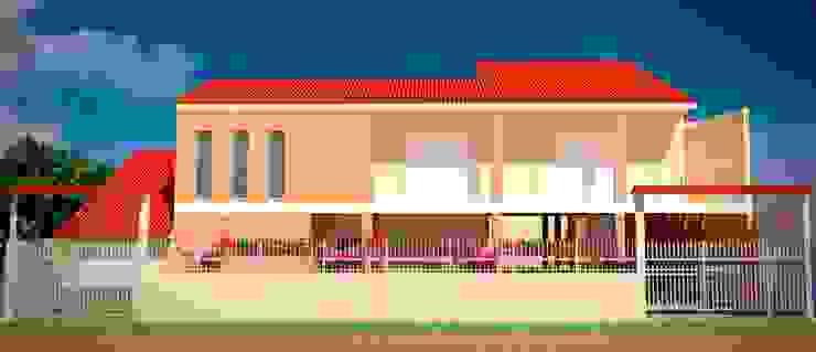 Fachada da residência após ampliação de um pavimento Casas modernas por Fávero Arquitetura + Interiores Moderno