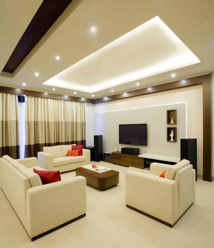 3BHK_ Mr.Narayana Rao_ Parrys Interior Decoration_ Site photos Modern Living Room by Arcmen kitchens And Interiors Modern