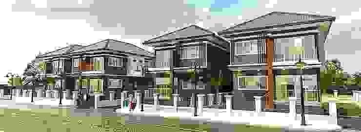บ้านพักอาศัย 2 ชั้น โดย แบบบ้านออกแบบบ้านเชียงใหม่ ผสมผสาน คอนกรีต