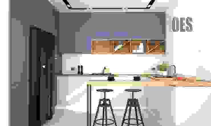 OES architekci Built-in kitchens Wood Blue