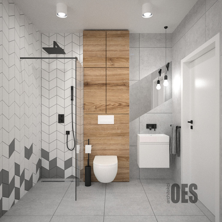 OES architekci Modern bathroom Stone Grey