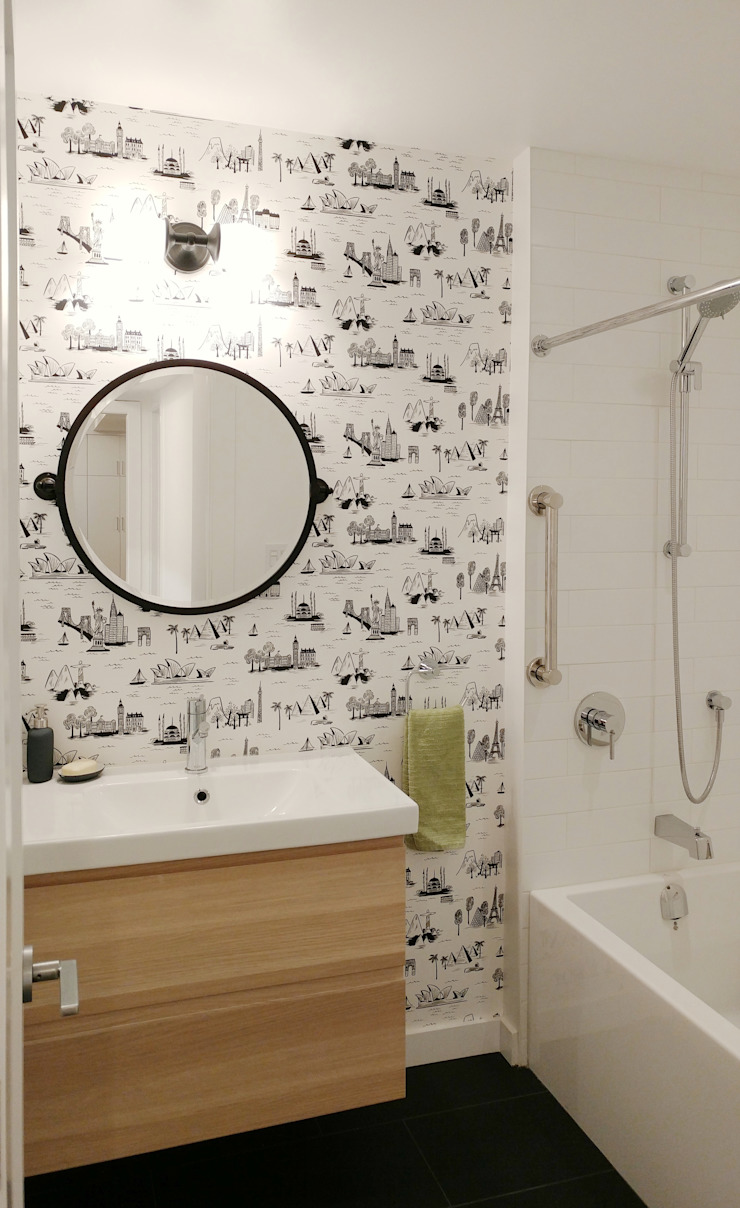 Oakwood Village House - Guest Bathroom Solares Architecture Eclectic style bathroom Wood White