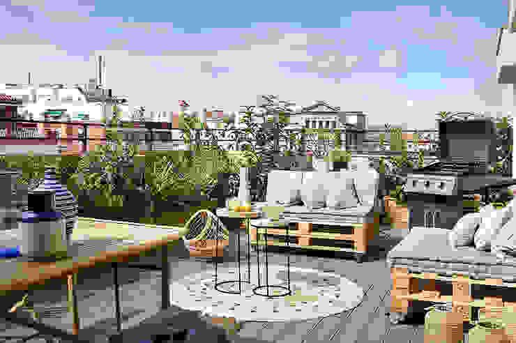 Egue y Seta Mediterranean style balcony, veranda & terrace