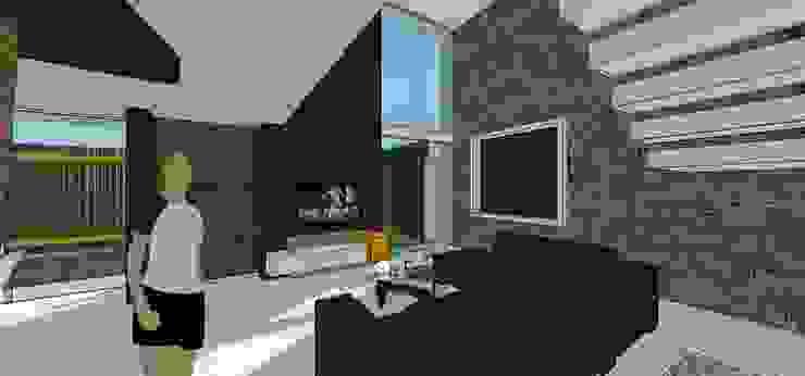 Sala. Vista de ventanal a doble altura Salas de estilo minimalista de MARATEA estudio Minimalista Piedra