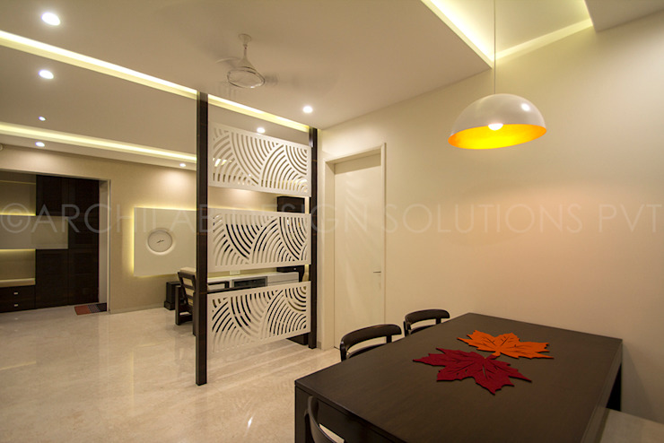 1500 Sft Residence at Rohan Kritika, Sinhagad Road, Pune Minimalist dining room by Archilab Design Solutions Pvt.Ltd. Minimalist Wood Wood effect