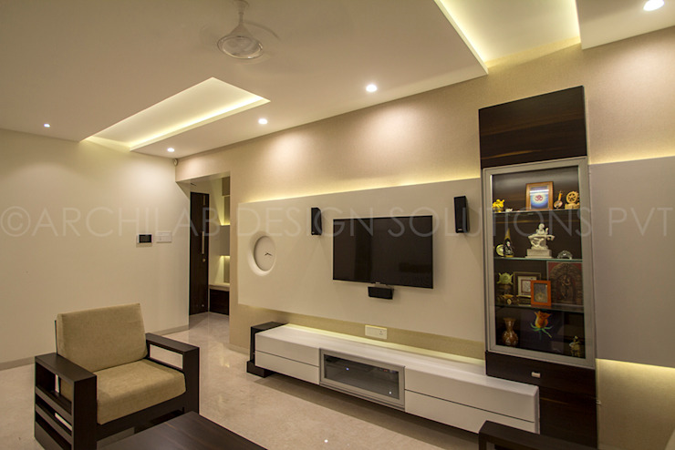 1500 Sft Residence at Rohan Kritika, Sinhagad Road, Pune Minimalist living room by Archilab Design Solutions Pvt.Ltd. Minimalist Wood Wood effect