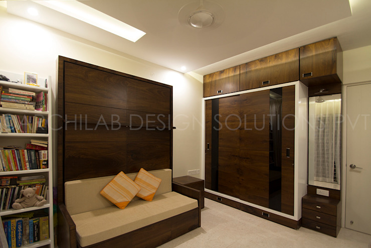 1500 Sft Residence at Rohan Kritika, Sinhagad Road, Pune Minimalist bedroom by Archilab Design Solutions Pvt.Ltd. Minimalist Wood Wood effect