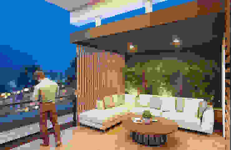 GRUPO ESCALA ARQUITECTOS Modern balcony, veranda & terrace