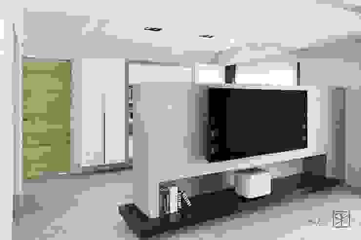 電視牆 禾廊室內設計 现代客厅設計點子、靈感 & 圖片 大理石 White